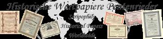 Historische Wertpapiere - alte Aktien - historische Schecks - Scripophily-Logo