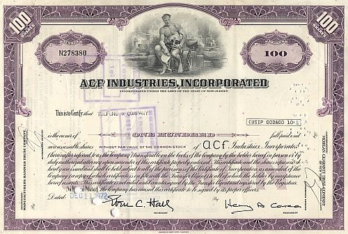 ACF Industries Incorporated historic stocks - old certificates