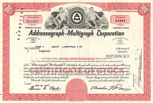 Addressograph - Multigraph Corporation historische Wertpapiere - alte Aktien