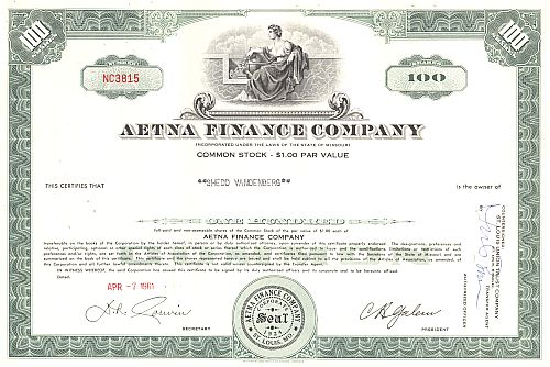 Aetna Finance Company historic stocks - old certificates