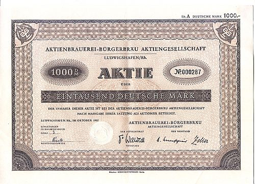 Aktienbrauerei Bürgerbräu historic stocks - old certificates