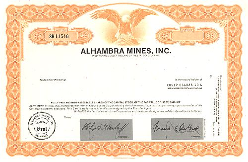 Alhambra Mines, Inc. historic stocks - old certificates