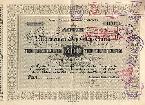 Allgemeine Depositen-Bank (1905) historic stocks - old certificates