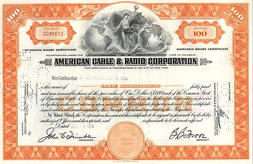 American Cable and Radio Corporation historische Wertpapiere - alte Aktien