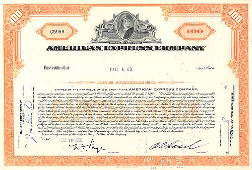 American Express Company historic stocks - old certificates