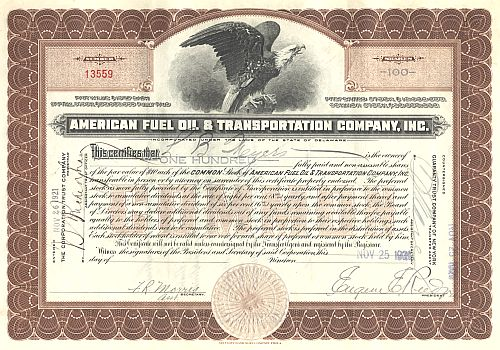 American Fuel Oil ans Transportation historic stocks - old certificates
