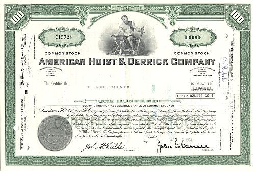 American Hoist & Derrick Company historic stocks - old certificates