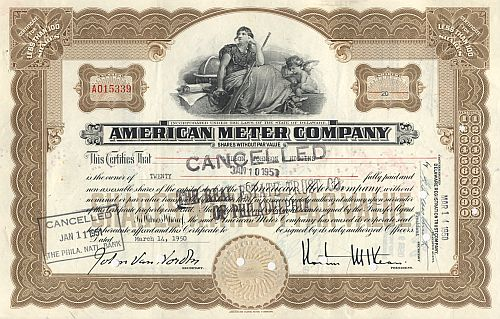 American Meter Company historic stocks - old certificates