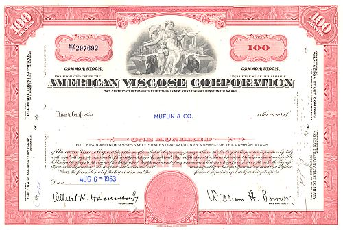 American Viscose Corporation historic stocks - old certificates