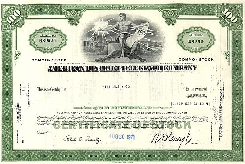American District Telegraph Company historic stocks - old certificates