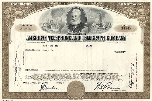 American Telephone and Telegraph Company (AT&T) historische Wertpapiere - alte Aktien