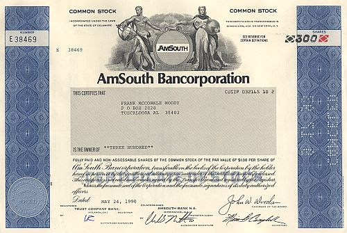 AmSouth Bancorporation historic stocks - old certificates