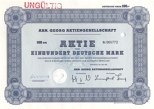 Arn Georg Aktiengesellschaft Old Stock Certificates Stocks From Hotels And Real Estate From Germany