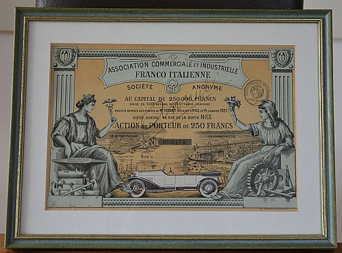Association Commerciale et Industrielle Franco Italienne S.A. historic stocks - old certificates