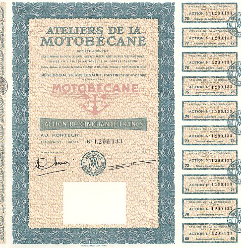 Ateliers de la Motobecane historic stocks - old certificates