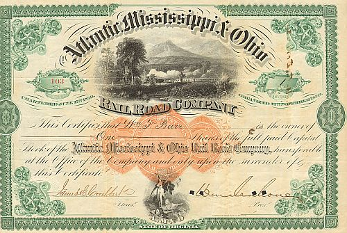 Atlantic Mississippi & Ohio Rail Road Company (Autograph Mahone)