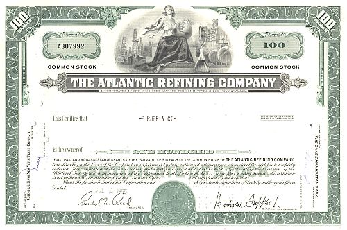 Atlantic Refining Company historic stocks - old certificates