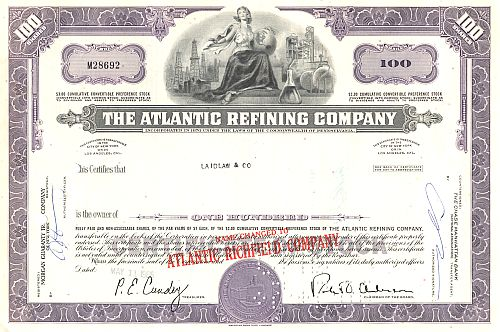 Atlantic Refining Company (Überdruck) historic stocks - old certificates