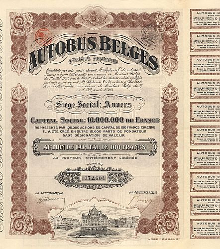 Autobus Belges historic stocks - old certificates