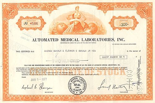 Automated Medical Laboratories Inc. historic stocks - old certificates