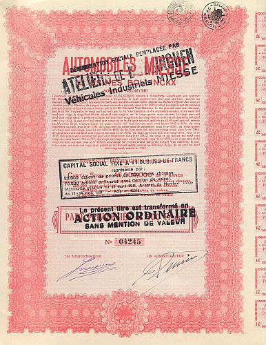 Automobiles Miesse historic stocks - old certificates
