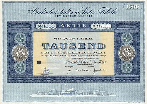 Badische Anilin & Soda Fabrik (BASF) 1959 historic stocks - old certificates