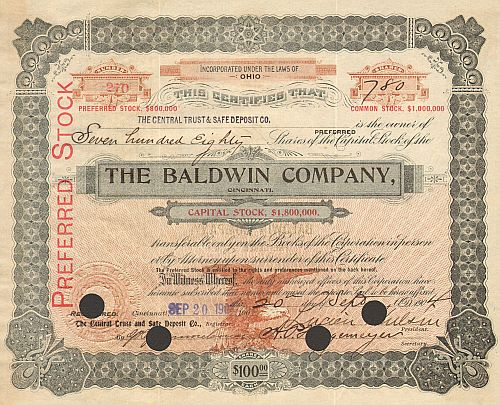 Baldwin Company (Autograph Wulsin 500 bis 1000 Shares) historic stocks - old certificates