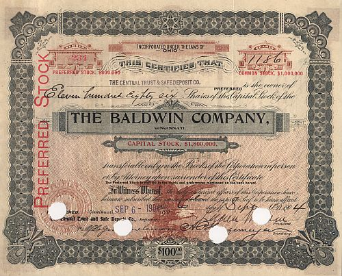 Baldwin Company (Autograph Wulsin mehr als 1000 Shares) historic stocks - old certificates