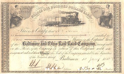 Baltimore and Ohio Railroad Company (1850er) historische Wertpapiere - alte Aktien