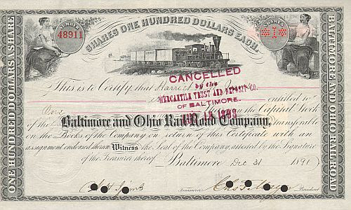 Baltimore and Ohio Railroad Company (1890er) historische Wertpapiere - alte Aktien