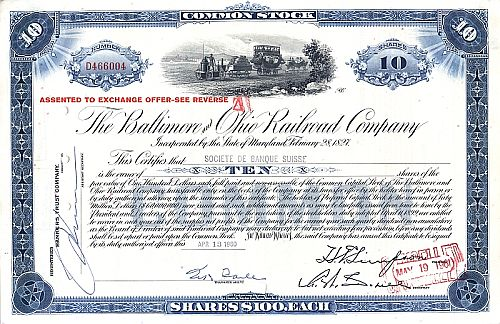 Baltimore and Ohio Railroad Company (Überdruck) historische Wertpapiere - alte Aktien