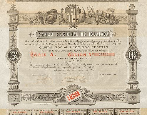 Banco Regional de Igualada -  historic stocks - old certificates Banks and Insurance