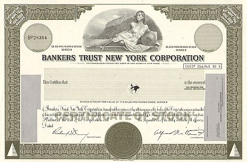 Bankers Trust New York Corporation  historic stocks - old certificates