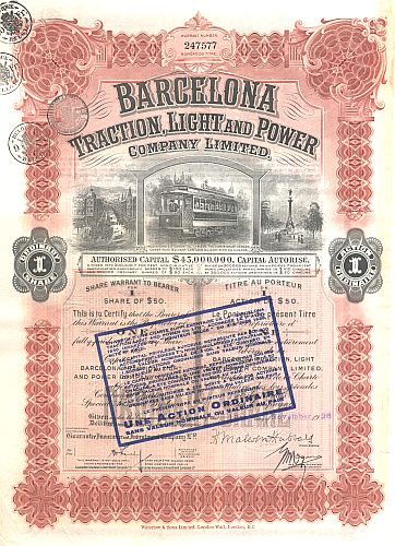 Barcelona Traction, Light and Power Company Limited historic stocks - old certificates