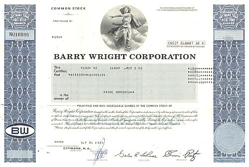 Barry Wright Corporation historische Wertpapiere - alte Aktien