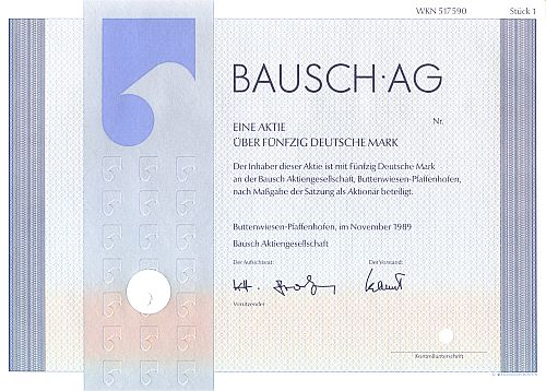 Bausch AG historic stocks - old certificates