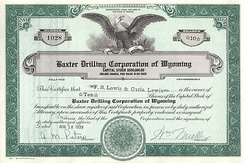 Baxter Drilling Corporation of Wyoming historic stocks - old certificates