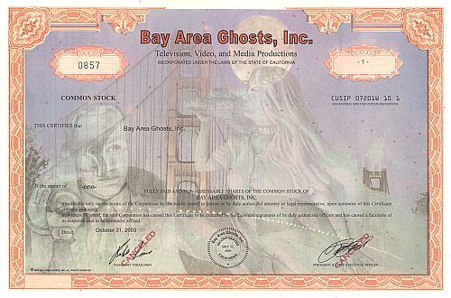 Bay Area Gost, Inc. historic stocks - old certificates