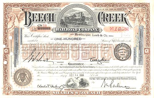 Beech Creek Railroad Company historic stocks - old certificates