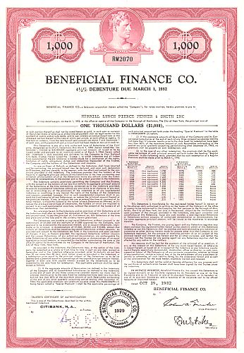 Beneficial Finance Co. historic stocks - old certificates