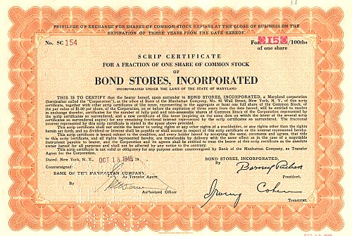Bond Stores, Incorporated historic stocks - old certificates