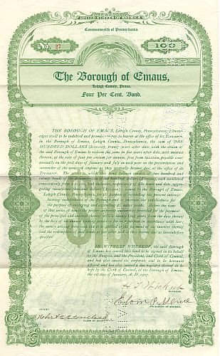 Borough of Emaus historic stocks - old certificates