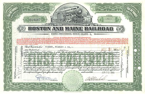 Boston and Maine Railroad historische Wertpapiere - alte Aktien