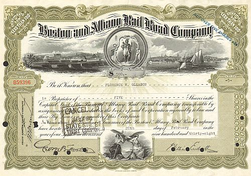 Boston and Albany Rail Road Company historische Wertpapiere - alte Aktien