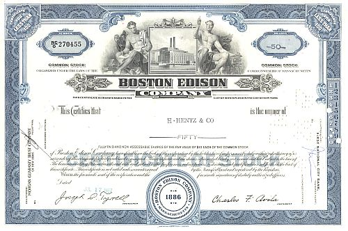 Boston Edison Company historic stocks - old certificates