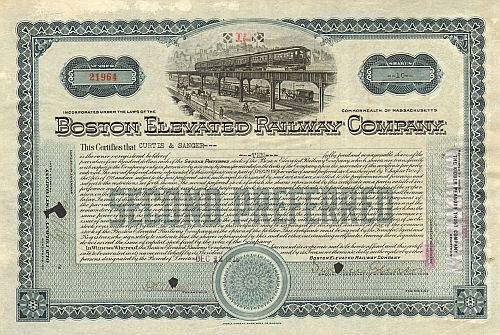 Boston Elevated Railway Company historic stocks - old certificates