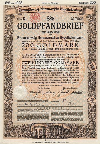 Braunschweig-Hannoversche Hypothekenbank (8% Goldpfandbrief) historic stocks - old certificates