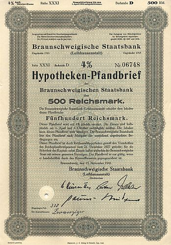 Braunschweigische Staatsbank (4%Hypothekenpfandbrief) historic stocks - old certificates