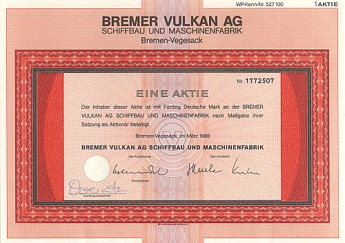 Bremer Vulkan AG (1986) historic stocks - old certificates
