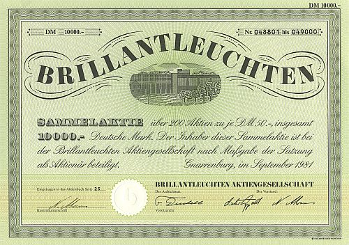 Brillantleuchten AG historic stocks - old certificates